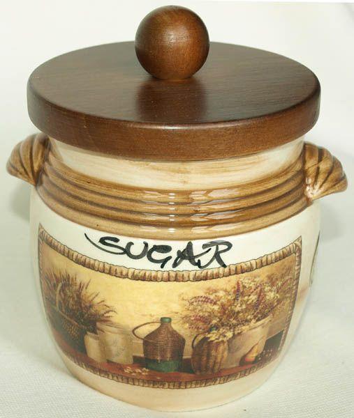 """Банка для сыпучих продуктов с деревянной крышкой (сахар)  """"Натюрморт"""""""