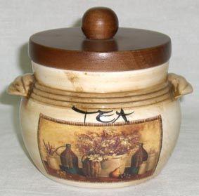 """Банка для сыпучих продуктов с деревянной крышкой (чай),0,5л  """"Натюрморт"""""""