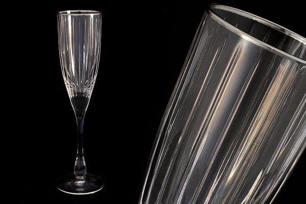 """Набор: 6 хрустальных бокалов для шампанского (0,15л)  """"Пиза серебро"""""""