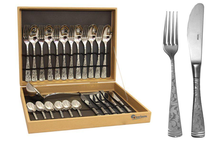 """Набор столовых приборов из 25 предметов на 6 персон  с серебром """"Dubai Argento"""""""