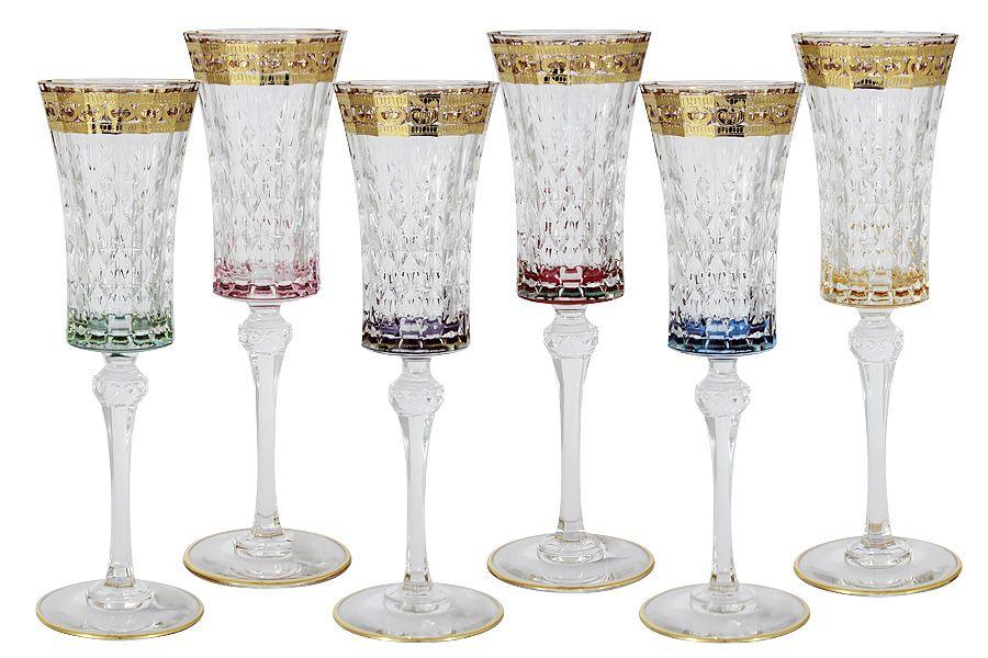 """Набор: 6 бокалов для шампанского 0.15 л """"Цветная Флоренция"""""""