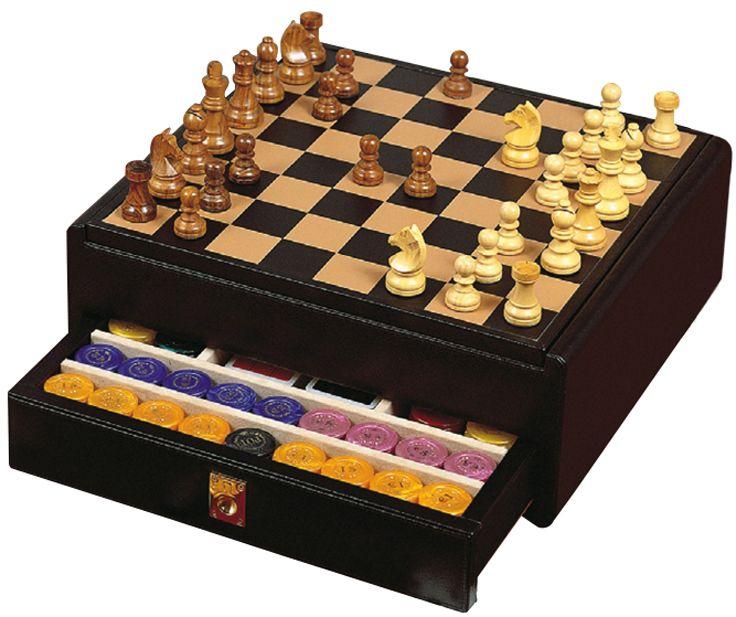 Шахматы в черном боксе, доска - дерево+кожа, фигуры - дерево, 430 х 410 х 165 мм