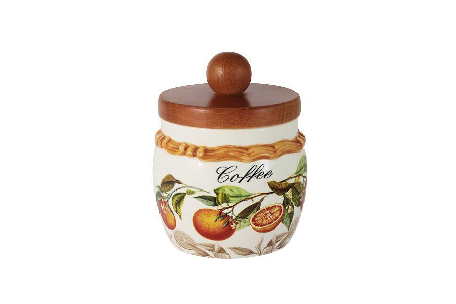 """Банка для сыпучих продуктов с деревянной крышкой (кофе) """"Апельсины"""", 0.5 л"""