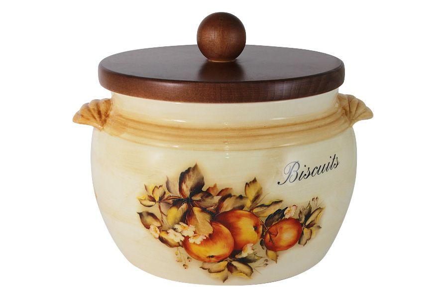 """Банка для сыпучих продуктов с деревянной крышкой (большая) """"Зимние яблоки"""", 2 л"""