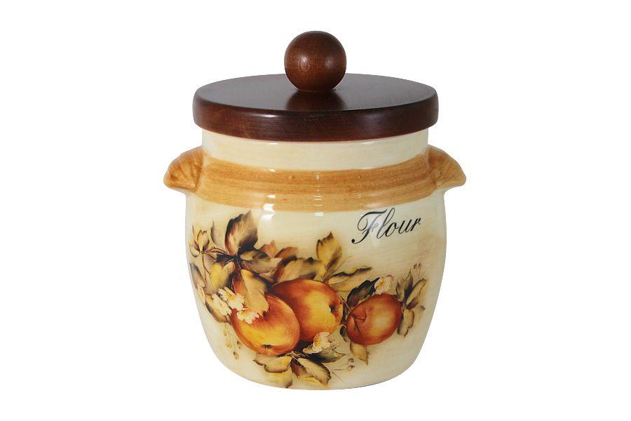 """Банка для сыпучих продуктов с деревянной крышкой (мука) """"Зимние яблоки"""", 0.75 л"""