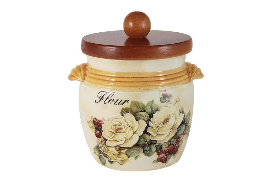 """Банка для сыпучих продуктов с деревянной крышкой (мука) """"Роза и малина"""", 0.75 л"""