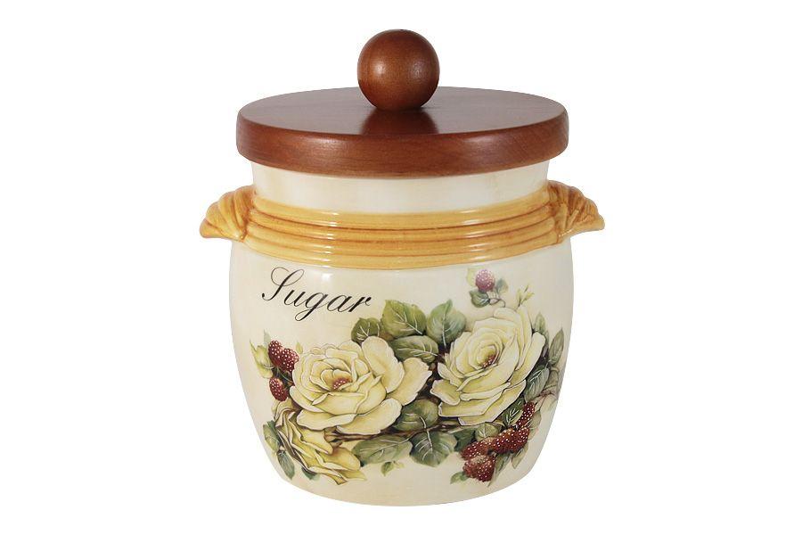 """Банка для сыпучих продуктов с деревянной крышкой (сахар) """"Роза и малина"""", 0.75 л"""