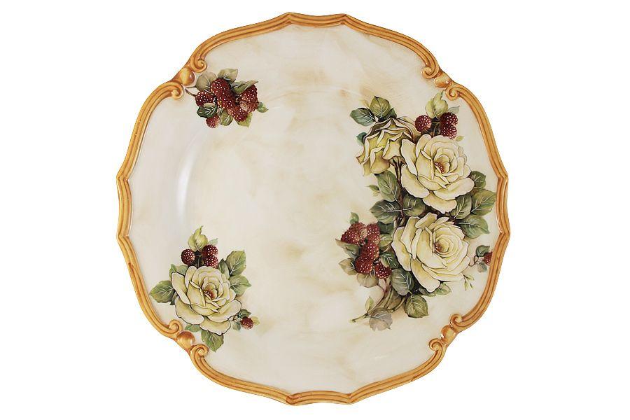 """Блюдо круглое """"Роза и малина"""", 37 см"""