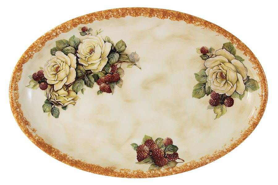 "Блюдо овальное ""Роза и малина"", 36х23.5 см"