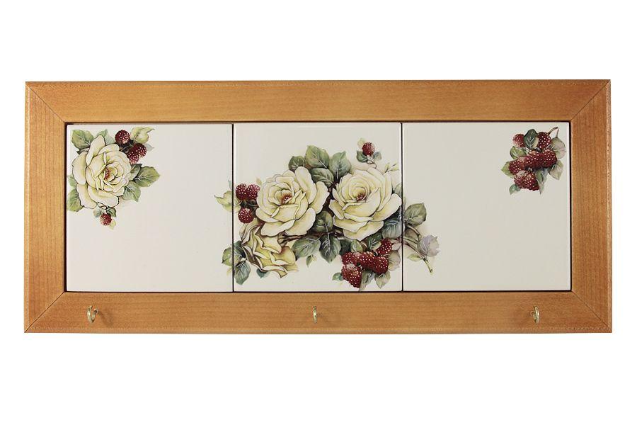 "Вешалка для полотенец ""Роза и малина"", 35х15 см"